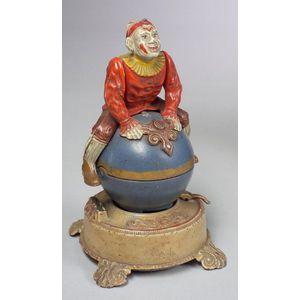 J. & E. Stevens Clown on Globe Mechanical Bank