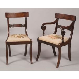 Set of Seven Greek Revival Carved Mahogany Dining Chairs