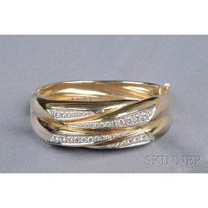 14kt Bicolor Gold and Diamond Bangle Bracelet