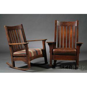 Two Arts & Crafts Oak Armrockers