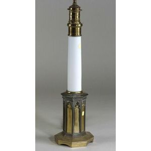Bronze and Milk Glass Gothic Revival Oil Lamp