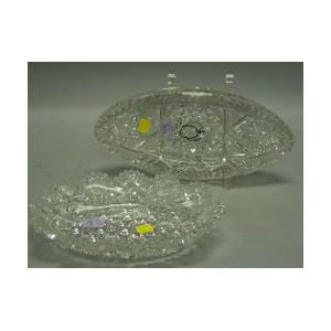 J. Hoare Colorless Cut Glass Oval Dish and a Colorless Russian Pattern Cut Glass Oval Bowl.