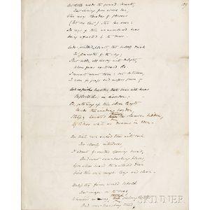 Browning, Elizabeth Barrett (1806-1861) The Island,   Original Holograph Manuscript Leaf, [pre-1838.]