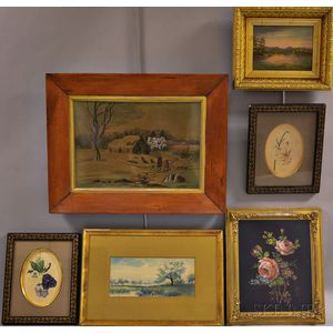 Six Framed Works:      Charles Russell Loomis (American, 1857-1936), Marsh and River View