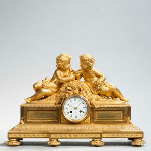 Bourdin Gilt-brass Figural Mantel Clock