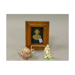 Birds-eye Maple Framed Wax Portrait Bust, a Miniature English Ceramic Teapot and a Ceramic Figure.