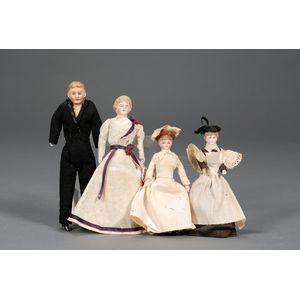 Four Bisque Shoulder Head Dollhouse Dolls