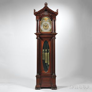 Carved Mahogany Nine Tubular Bell Chime Clock