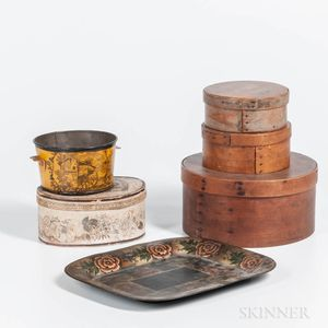 Three Round Pantry Boxes, an Oval Band Box, a Tole Container, and a Tole Tray