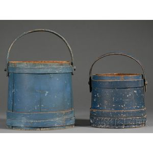 Two Blue-painted Wooden Buckets