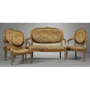 Five-piece Suite of Louis XVI-style Aubusson Tapestry Upholstered Seating Furniture