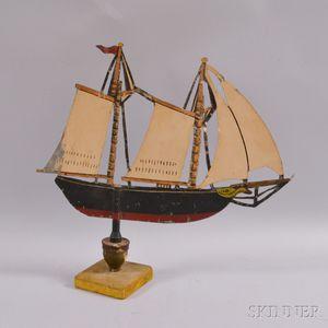 Polychrome Sheet Tin Sailing Vessel Weathervane on Stand