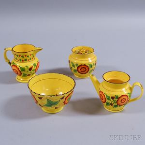 Four Pieces of Floral-decorated Canary Tableware Items