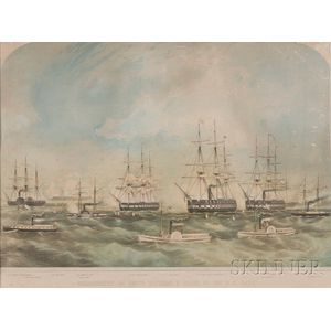 J.H. Buffords, lithographer (Boston, 1841-c. 1870)      BOMBARDMENT OF FORTS HATTERAS & CLARK BY THE U.S. FLEET.