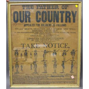 Centennial Commemorative Broadside Calling for Revolutionary War Troops.
