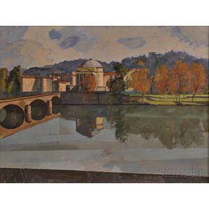 Mauro Chessa (Italian, b. 1933)      View of Turin, Italy