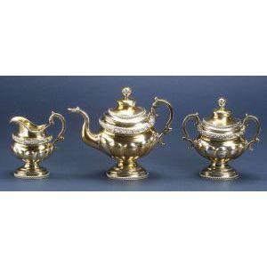 Three Piece Federal Coin Silver Tea Set