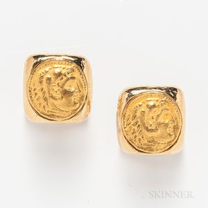 Pair of Webb 18kt Gold Coin Cuff Links
