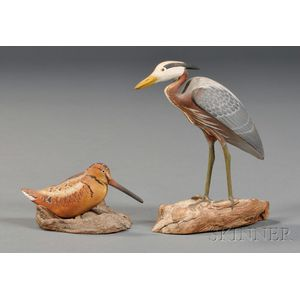 Miniature Carved and Painted Woodcock and Great Blue Heron Figures