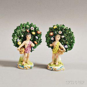 Pair of Porcelain Bocage Figures