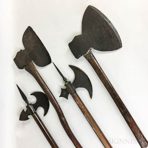 Four Wood and Iron Hand Axes.     Estimate $100-150
