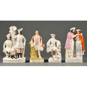 Four Staffordshire Earthenware Flat-back Figures
