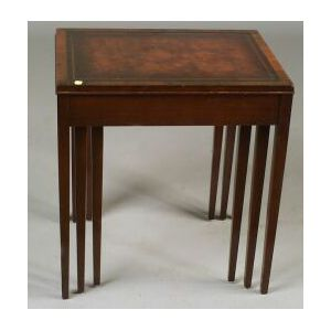 Nest of Three George III Style Leather-top and Mahogany Tables