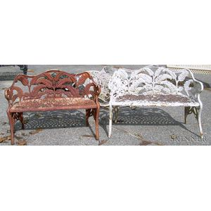 Two Diminutive Cast Iron Fern Pattern Garden Seats