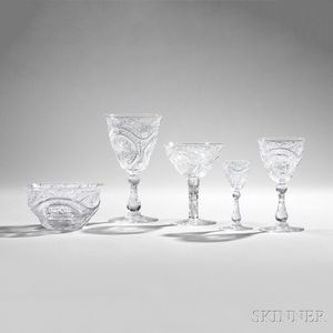 Fifty-seven Pieces of Thomas Webb Cut Glass Tableware