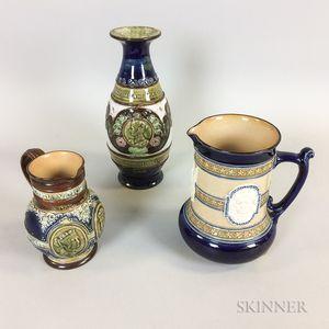 Three Doulton Commemorative Stoneware Items