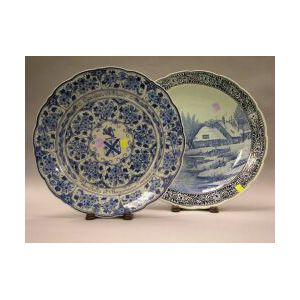 Two Delft Blue and White Earthenware Chargers, 20th century,