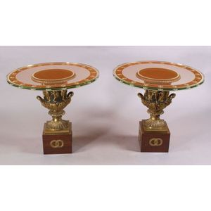 Pair of Empire Revival Gilt and Patinated Bronze Urn-form Glass-top Tables