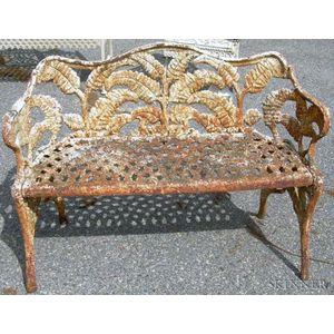 White-painted Cast Iron Fern Pattern Garden Seat