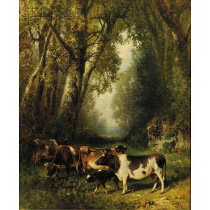 William M. Hart (American, 1823-1894)      Cows in a Woodland Landscape