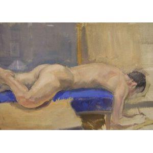 Framed Oil Nude Male Study