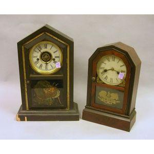 Atkins Clock Co. Rosewood Veneer Shelf Clock and a Black Painted Waterbury Clock Co. Shelf Clock.