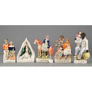 Five Staffordshire Earthenware Figures