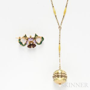 Two 14kt Gold and Enamel Jewelry Items