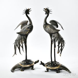 Pair of Parcel-gilt Bronze Phoenixes