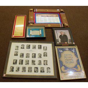 Lot of Six Framed Pieces of Ephemera