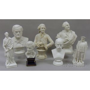 Seven Parian and Bisque Historical Busts and Figures
