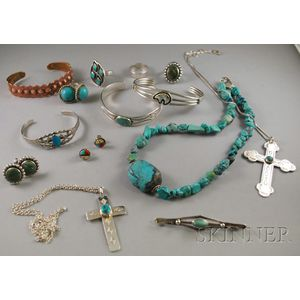 Group of Mostly Sterling Silver and Turquoise Jewelry