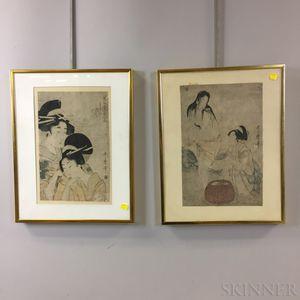 Two Kitagawa Utamaro (1753-1806) Woodblock Prints