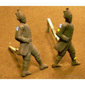 Pair of Cast Iron Hessian Andirons.