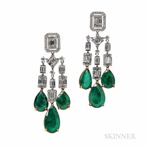 18kt Gold, Emerald, and Diamond Earrings, Umrao