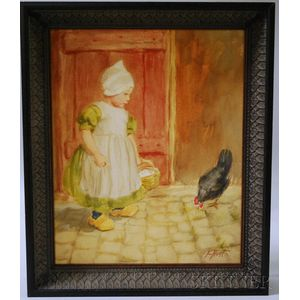 Esther A. Hunt (American, 1875-1921)      Lot of Two Watercolors of Dutch Girls