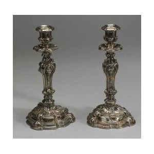 Pair of French .950 Silver Renaissance Revival Candlesticks