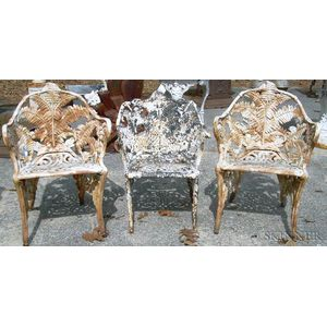 Pair of Fern Pattern Cast Iron Garden Armchairs and a Similar Armchair