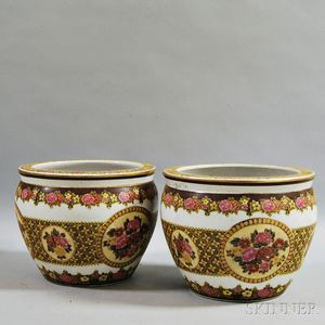 Pair of Satsuma Porcelain Fish Bowls