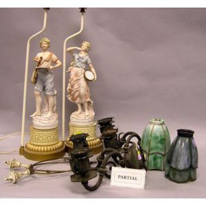 Set of Four Neoclassical Patinated Metal Two-Arm Wall Sconces and a Pair of Bisque   Figural Table Lamps